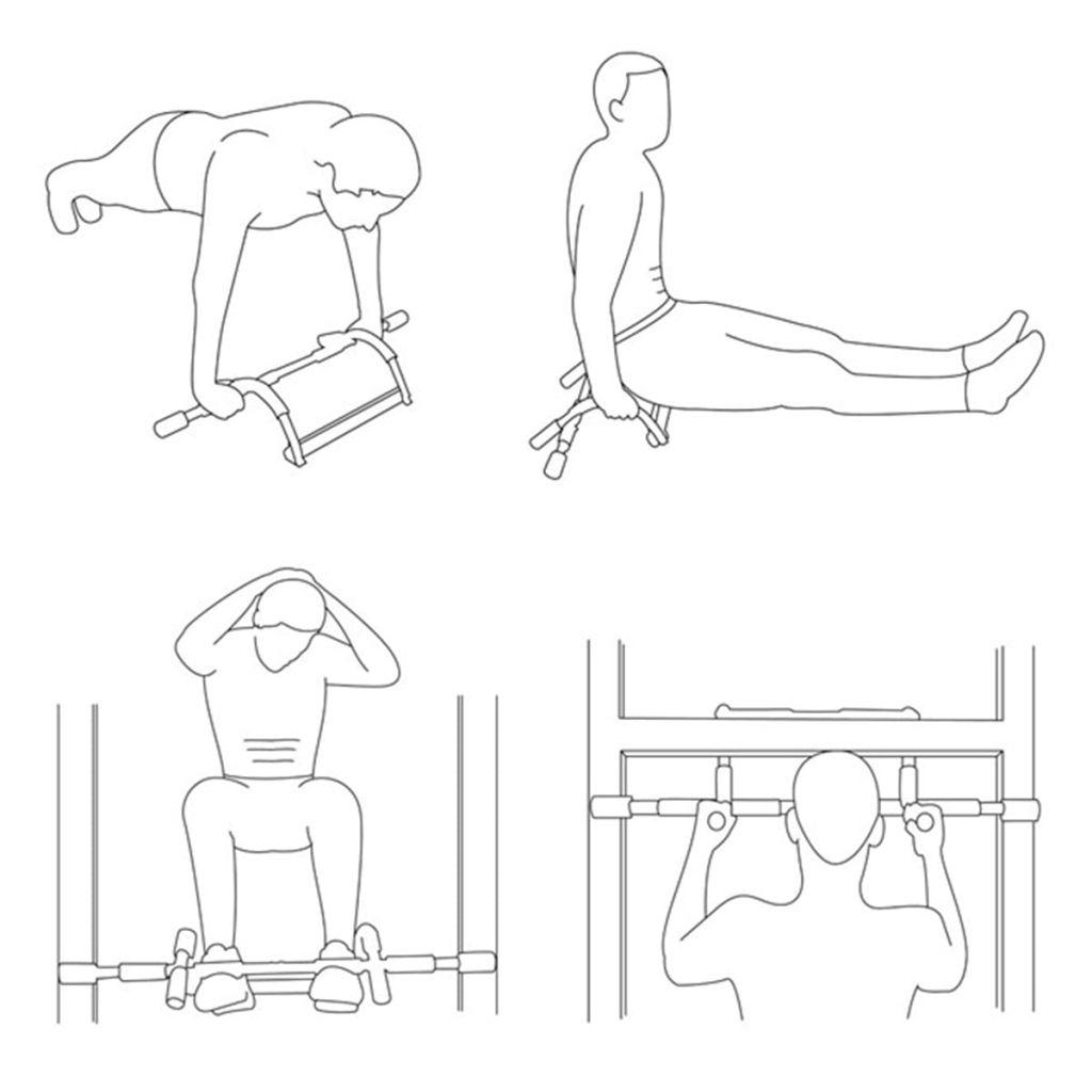 trbušnjake i propadanja za tricepse. Ova višenamjenska šipka za vježbanje napravljena je od izdržljivog čelika i ima drške od mekane pjene. Isporuka uključuje knjižicu s raznim vježbama.