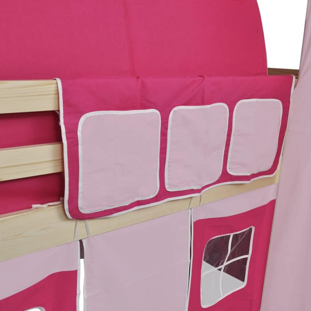 bočnim pokrovima i nadstrešnicom. Zaštitne tračnice na oba ruba kreveta zadržat će vašu malu princezu u svom krevetu. Prostor ispod kreveta pretvara se u dvorsku salu s uključenim bočnim stjenkama s prozorima. Izdignuti krevet ima zabavni tobogan i ljestve i oba se mogu prekriti šatorom. Tobogan i ljestve mogu se montirati bilo na lijevoj ili desnoj strani a u isporuku je uključena i nadstrešnica. Krevet je pogodan za madrac od 90 x 200 cm. Vaše dijete će uživati spavajući i igrajući se u sopstvenom dvorcu ! Napominjemo da madrac nije uključen u isporuku.