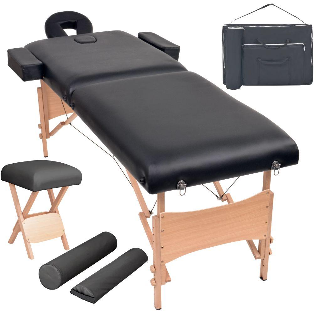 Ovaj set sastoji se od sklopivog stola za masažu s 2 zone