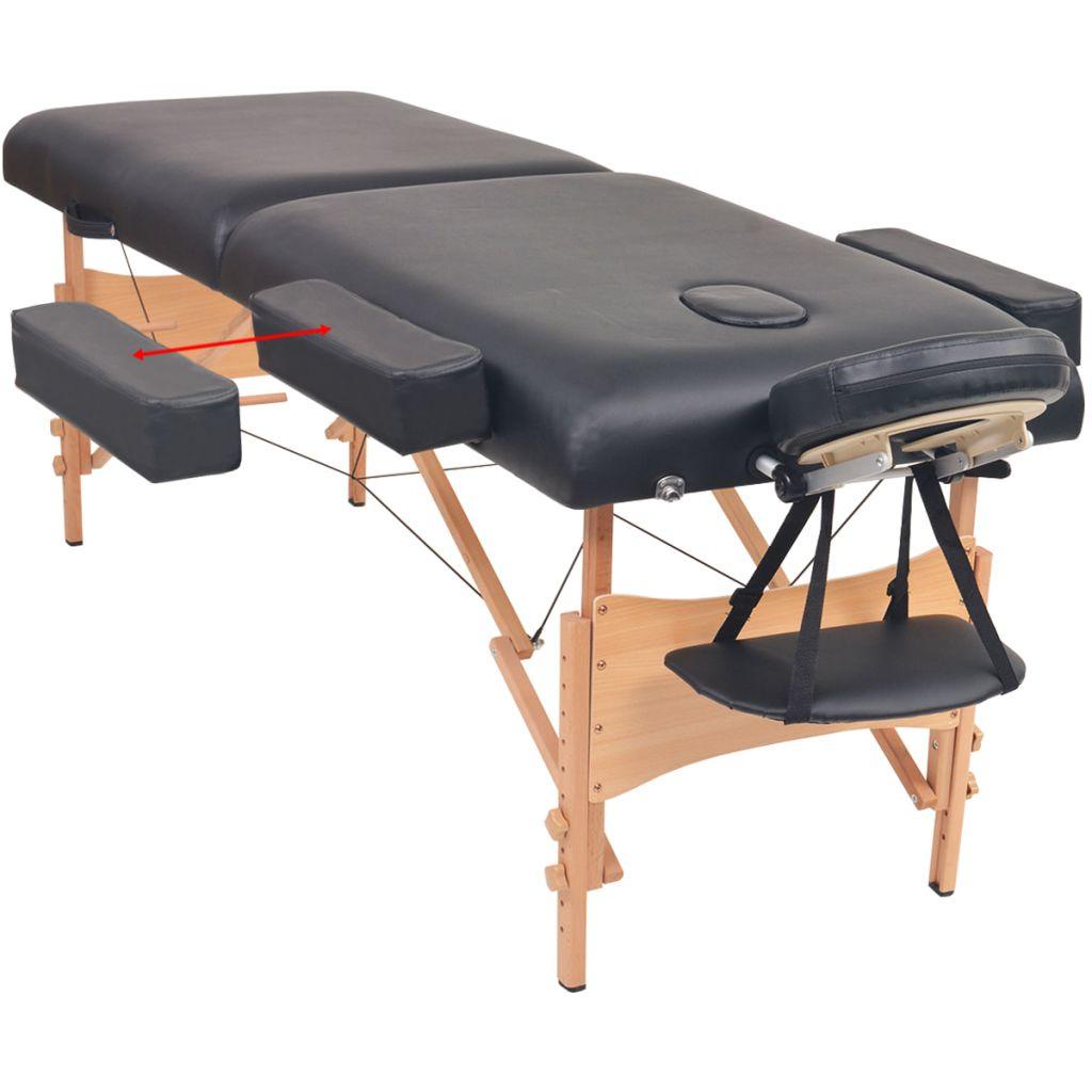 valjkastog i polukružnog jastuka te je idealan za profesionalnu i za privatnu uporabu. Stol i stolac za masažu imaju čvrst drveni okvir radi izdržljivosti i presvučeni su visokokvalitetnom umjetnom kožom. Luksuzno sjedalo stolca i površina stola za ležanje