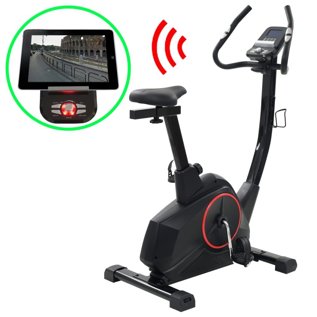 Ovaj čvrsti i magnetski bicikl za vježbanje s Bluetooth funkcijom je savršen izbor za vježbanje kod kuće. Opremljen sa zamašnjakom i kompjuterskim upravljanjem otpora i LCD ekranom