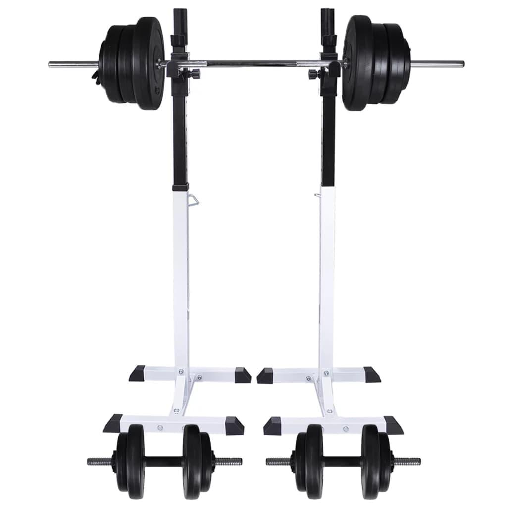 Ovaj čvrsti i stabilni stalak za čučnjeve sa setom dvoručnih i jednoručnih utega savršen je za vašu kućnu teretanu! U kombinaciji s klupom za vježbanje
