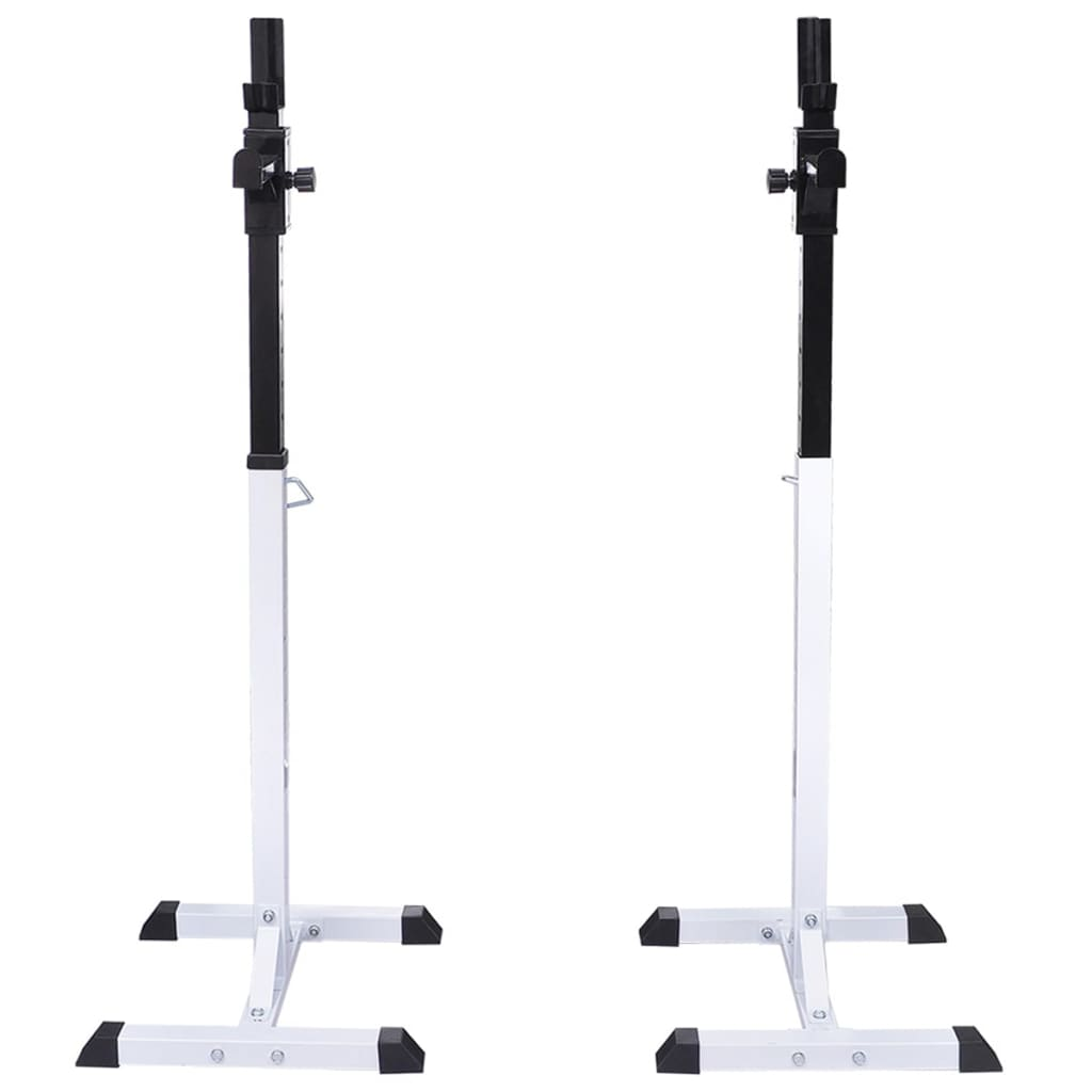 kao i čučnjeva. Ovaj stabilni stalak za utege prikladan je za šipke za dvoručne utege promjera otprilike 45 - 50 mm. Ima konstrukciju od grubog čelika i maksimalnu nosivost 80 kg. Stalak je podesiv po visini i prikladan za gotovo svaku veličinu tijela i razne vježbe. Štoviše