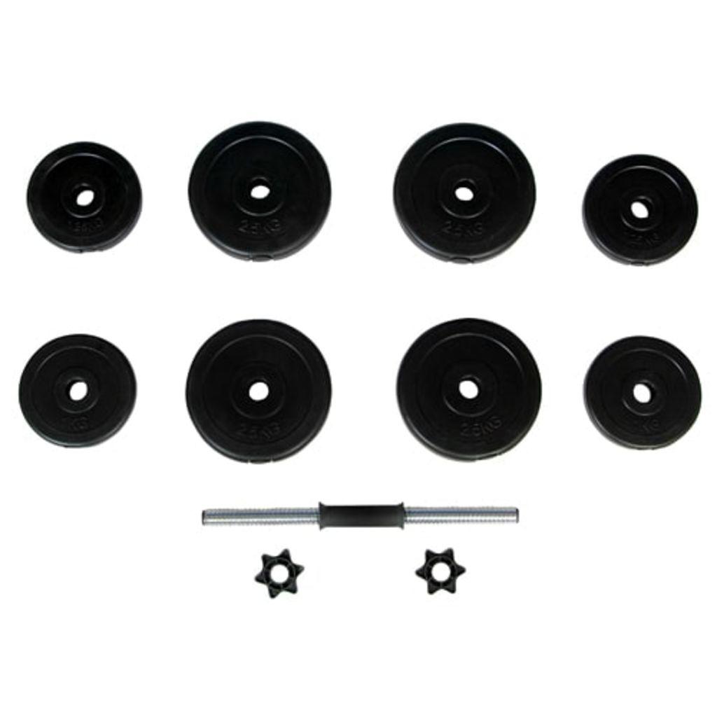 5 cm. Ploče za uteg obložene su čvrstom plastikom koja ne oštećuje pod