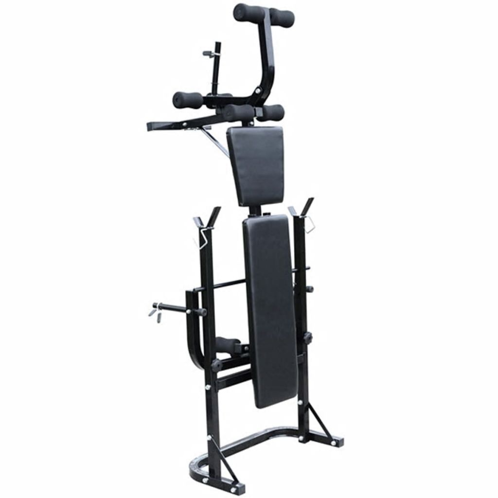 šipke i para bućica. Uz njega ćete jednostavno trenirati cijeli niz mišićnih skupina.Sveobuhvatna klupa za utege omogućava Vam lako izvođenje vježbi kao što su bench press