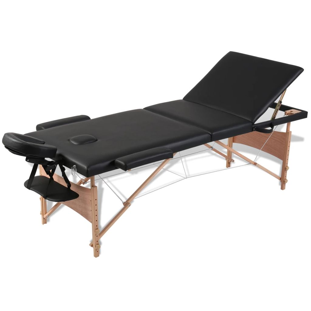 Ovaj sklopivi stol za masažu iz tri dijela ima drveni okvir a pogodan je za profesionalce ali i za amatere. Podstavljen pjenom velike gustoće