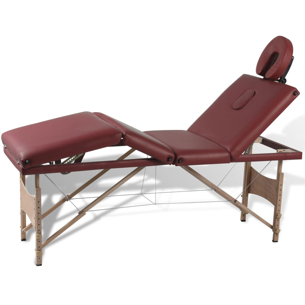 Ovaj sklopivi stol za masažu iz četiri dijela ima drveni okvir a pogodan je za profesionalce ali i za amatere. Jastuk podstavljen gustom pjenom veoma je udoban i otporan na dezinfekcijska sredstva i ulja za masažu . Naslon za glavu i visina stola za masažu su podesivi što omogućuje korisniku da udobno leži a terapeutu da bira željenu visinu rada. Stol za masažu se lako sastavlja. Može se preklopiti u oblik kofera. Torba za prijenos je uključena u isporuku za jednostavan transport i pohranu.