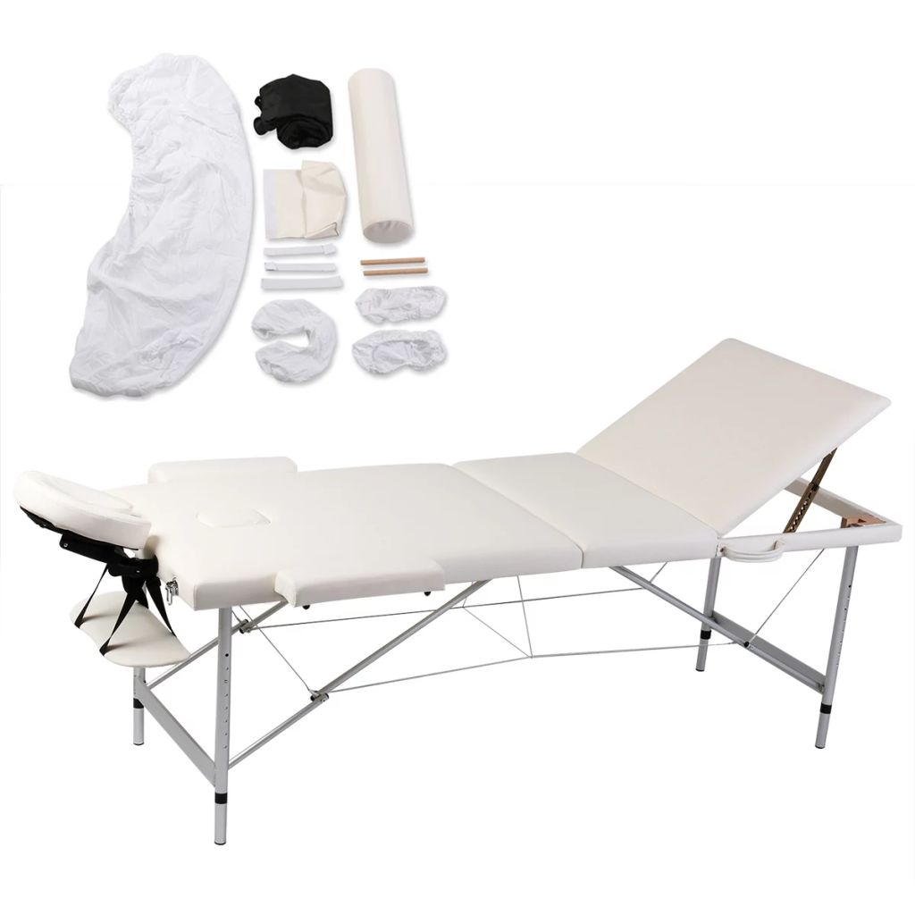 Ovaj sklopivi stol za masažu iz 3 dijela ima aluminijski okvir
