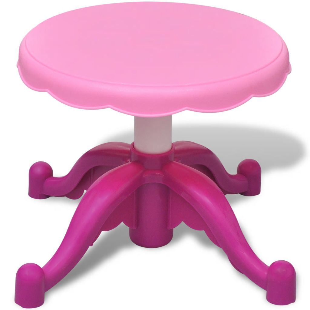 slatki fen za kosu u minijaturi zaista funkcionira kao pravi! Stol je opremljen ugrađenom ladicom da bi olakšali djeci organiziranje uključenih dodataka i kozmetičkih predmeta. Konstrukcija ga čini stabilnim