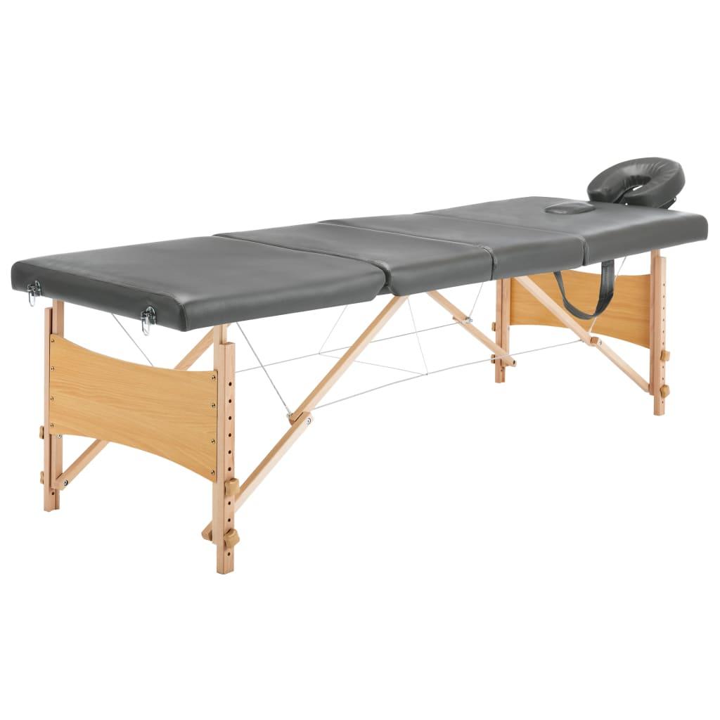 Ovaj sklopivi stol za masažu iz četiri dijela ima drveni okvir a pogodan je za profesionalce ali i za amatere. Podstavljen pjenom velike gustoće