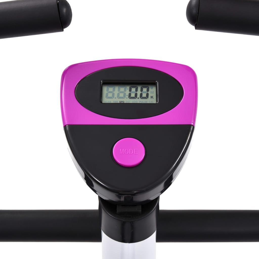 potrošenim kalorijama i prijeđenim kilometrima. Bicikl za vježbanje ergonomski je dizajniran. Sjedalo se može okomito podesiti kako bi odgovaralo vašoj visini. Neklizeće pedale omogućuju optimalan prijenos snage s nogu na pedale. Trake pedala spriječit će slučajno iskliznuće stopala s pedala. Mikro-podesivi sustav otpora s remenom i precizno uravnotežen zamašnjak slobodni su od trenja radi glatkog i tihog rada bez potrebe za održavanjem. Bicikl za vježbanje potrebno je sastaviti.
