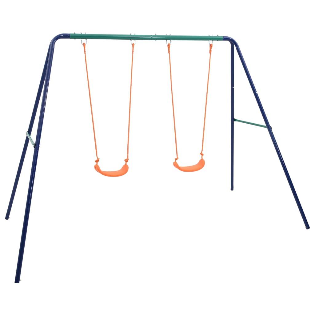 Igranje na ovom setu ljuljački bit će omiljena aktivnost na otvorenom vašoj djeci! Najviše 2 djece može se istovremeno igrati i uživati u svježem povjetarcu ili sunčanom danu. Ovaj set za ljuljanje sastoji se od čvrstog metalnog A-okvira s 2 pojedinačna sjedala za ljuljačku. Zahvaljujući čvrstom čeličnom okviru i plastičnim sjedalima